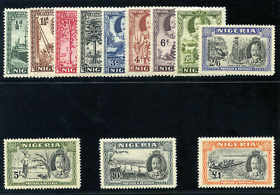 Nigeria 1936 KGV Pictorial set complete MLH. SG 34-45. Sc 38-49.