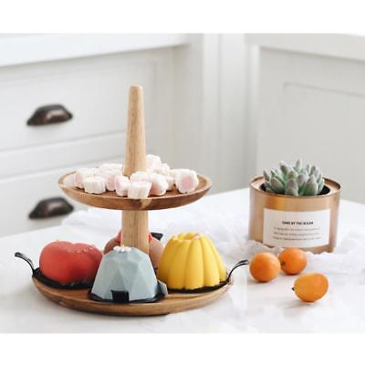 2 Layer Tier Wooden Serving Display Cakes Platter Food Stand Rack Tray Fruit Bow