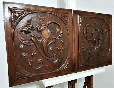 Pair Gothic Griffin Panel Antique French Hand Carvind Wall Architectural Salvage