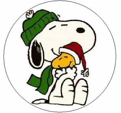 """SNOOPY & WOODSTOCK CHRISTMAS  1"""" Sticker / Seal Labels!"""