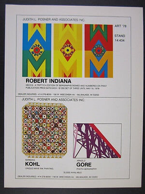 1978 Robert Indiana MECCA triptych serigraph offer vintage print Ad