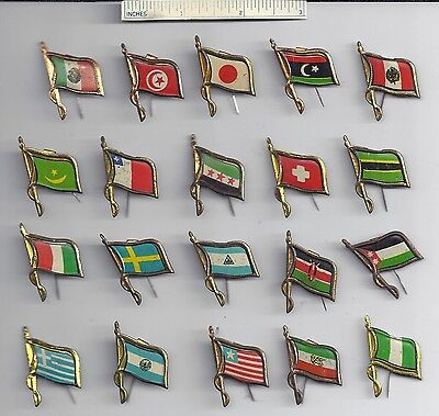 Lot of 20 Diff #3 - Tin WORLD FLAG Stick Pins - Cereal Inserts Giveaways Vintage
