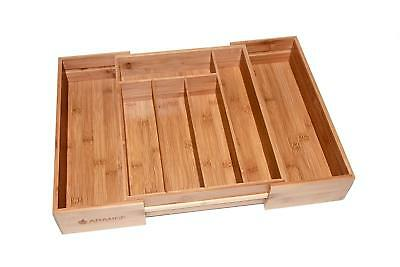 Large 3 inch Deep Expandable Bamboo Wood Cutlery Tray Drawer Utensil Organizer 7