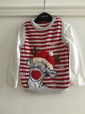 Baby Boys DISNEY TIGGER christmas Jumper Age 18-24 Months Xmas Top