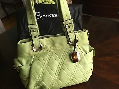 cf0561512c2f B. MAKOWSKY Medium Green Leather Shoulder Hobo Tote Satchel Slouch Purse Bag