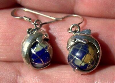 Beautiful Vintage Sterling Silver & Inlaid Stones World Globe DOLPHIN Earrings