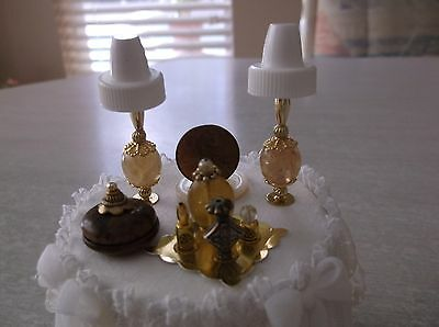 Dollhouse Miniature Vanity/Dresser Non-Electric Lamps, Perfume Tray-Beige & Gold