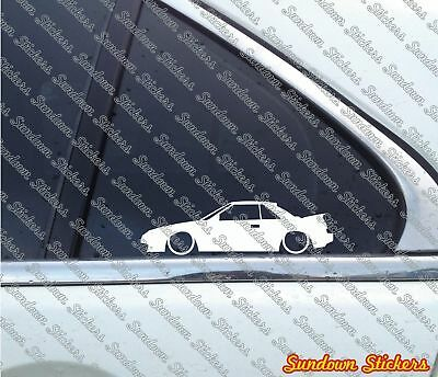 2x Lowered car outline stickers - for Toyota Mr2 Aw11 (w10) mk1 classic JDM