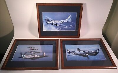 Vintage WW2 War Fighter Military Jet Aircraft Wood Framed Color Photos Lot of 3