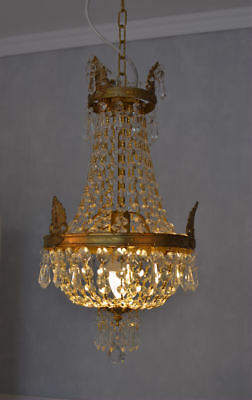 Crystal Chandelier Ceiling Lustre Basket Brass Glass Antique Baroque Empire