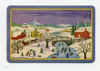 AMERICAN FOLK ART WINTER SCENE Ice Skating Vintage Playing Swap Trading Card.