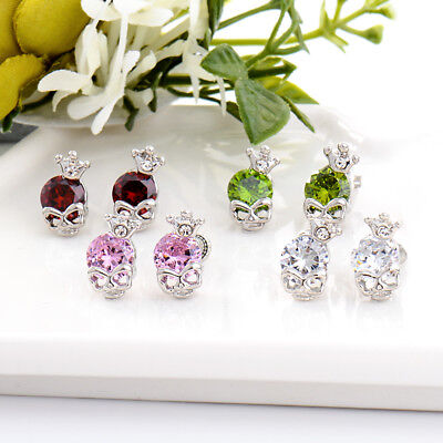 Cool Skull Crown Silver Plated Cubic Zirconia Crystal Stud Earrings Jewelry Gift