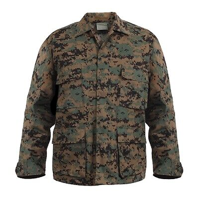 DIGITAL Woodland Camo BDU Style SHIRT Military US Marine Corps USMC Jacket
