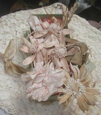 Exquisite 1800s Antique French Silk Victorian Millinery Flowers Pinks Creams