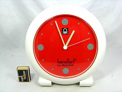 80´s design Benneton by Bulova adjustable table clock / Tischuhr working  24 cm