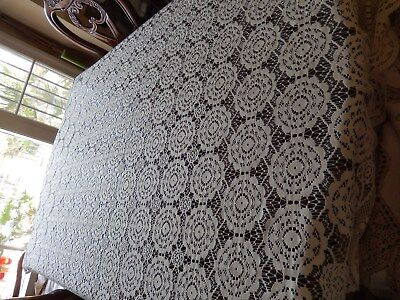 """Vintage Ivory Filet Net Lace  Oval Tablecloth 84"""" X 58""""  Banquet Wedding Table"""