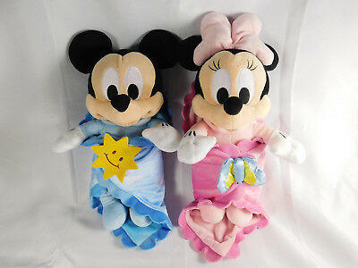 Disney Babies Mickey & Minnie Mouse w Baby Blanket Disney Parks