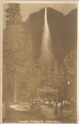 Yosemite National Park Camp Curry Fire Fall Real Photo Postcard 1920s