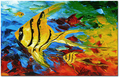 """Angel Fish Mother and Baby - Signed Hand Painted Nautical Oil painting 24x16"""""""