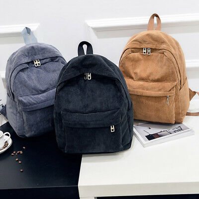 Women Men Vintage Rucksack Corduroy Backpack School Bag Solid Casual