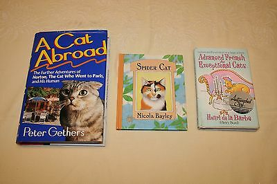 3 Cat Book Lot-A Cat Abroad Advanced French For Exceptional Cats, Spider Cat