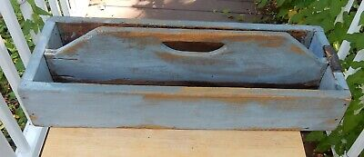 Antique Primitive Wooden Blue Painted Tote Caddy / Planter Tray Great for Plants