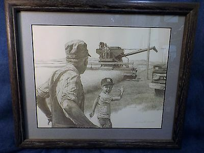 Don Greytak Ltd Ed  Print - John Deere Combine  - Signed- Matted  & Framed