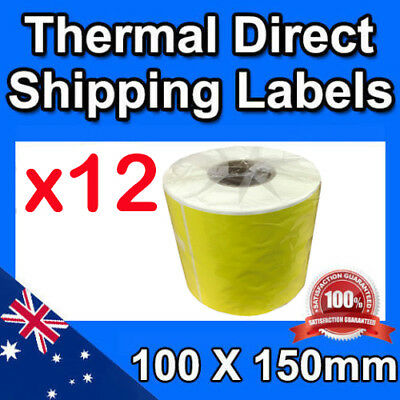 12x Thermal Yellow Shipping Labels 100 x 150mm 4x6 for Zebra Fastway Startrack