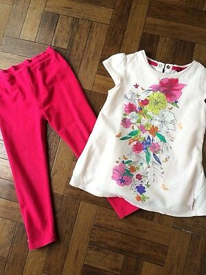 61580215008 TED BAKER GIRLS FLORAL BUTTERFLY TOP   PINK LEGGINGS AGED 2-3 Years