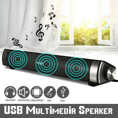 USB Audio Stereo Sound Bar Soundbar Speaker TV Theater For Computer PC Laptop AU