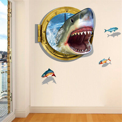 3D Shark Ocean Mural Removable Wall Sticker Art Vinyl Decal Kids Room Home HU