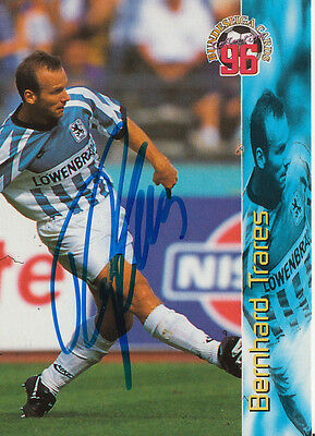 Bernhard Trares 1860 München Panini Card 1996 TOP Orig. Sign.+A27352