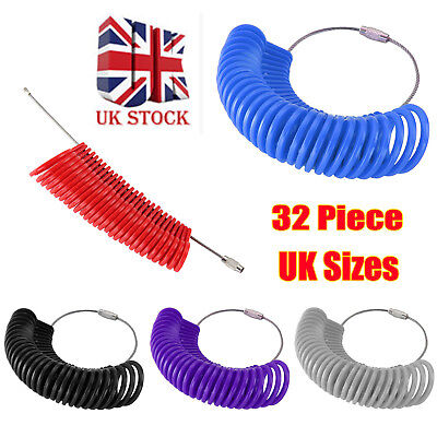 New British Finger Sizer Ring Gauge Measure Uk Seller Sizes A-Z Plastic 32 Piece