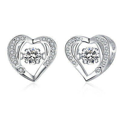 10k White Gold 1 Ct Round Diamond Heart Shape Stud Earrings