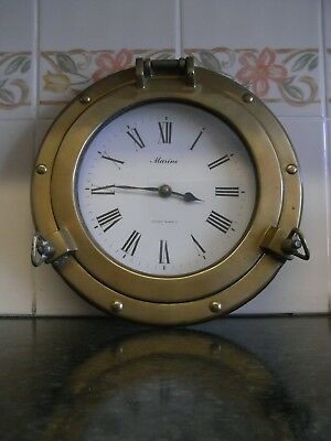 Unusual Vintage Quartz clock in its Brass Porthole