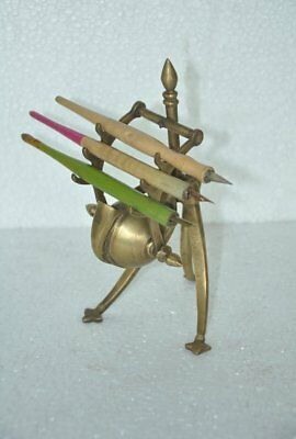 Old Brass Unique Shape Handcrafted Tripod Pen Stand With 3 Pen Holders