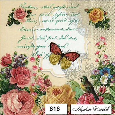 (616) TWO Individual Paper Luncheon Decoupage Napkins - FLORAL BUTTERFLY ROSES
