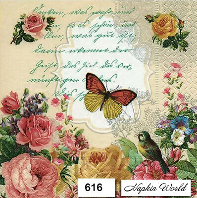 TWO (2) Paper Luncheon Decoupage Napkins (616)  FLORAL, BUTTERFLY, ROSES