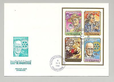 Mauritania 1984 Scouts, Rotary, Art 4v on 1v Imperf Compound Sheet on FDC