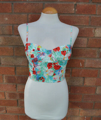 3656fb911581f Ladies Topshop Floral Crop Top Bustier Bralet Strappy Underwired Party Size  10