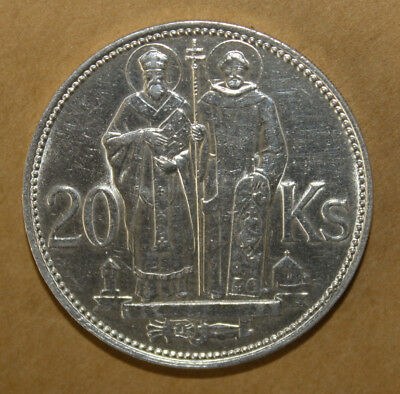 Slovakia 20 Korun 1941 Uncirculated Silver Coin - Cyril and Methodius