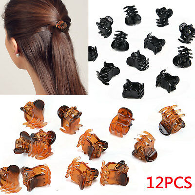 12 Pcs Girls Mini Small Plastic Hair Claws Clips Clamps Hair Accessories UK
