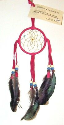"3"" hoop Dreamcatcher Authentic Native American Bright Pink FREE SHIPPING #604"