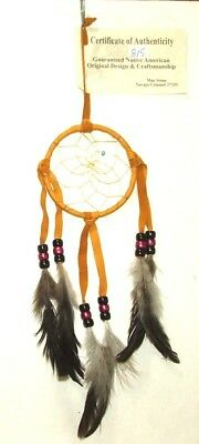 "Authentic Native American Dreamcatcher Golden 3"" hoop FREE SHIPPING #815"