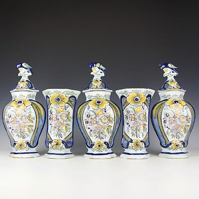 A Rare Polychrome Antique Dutch Delft Cabinet Garniture Set 18th Century