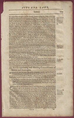 A Page From The Laws of King George II For the American Colonies, 1750