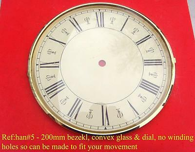 22/2 han#5 Circular brass  mantle  clock dial cream dial 200mm od