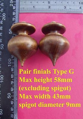 da type G - Pair stained wood vienna regulator wall clock FINIALS furniture DIY