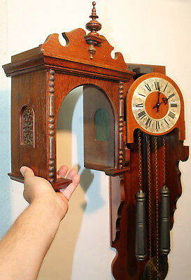 *Old Wall Clock Regulator 2 Weights Chime Clock* with removable dome
