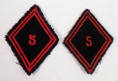 (2) Scarce French Army 5th Engineering Regiment Diamond Shoulder Patches